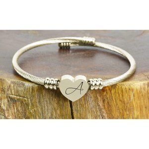 Stainless Steel Heart Cable Initial Bracelet NEW